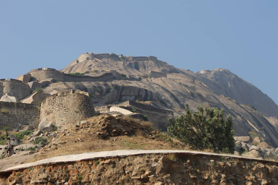 Monster Madhugiri Fort as seen from the base point