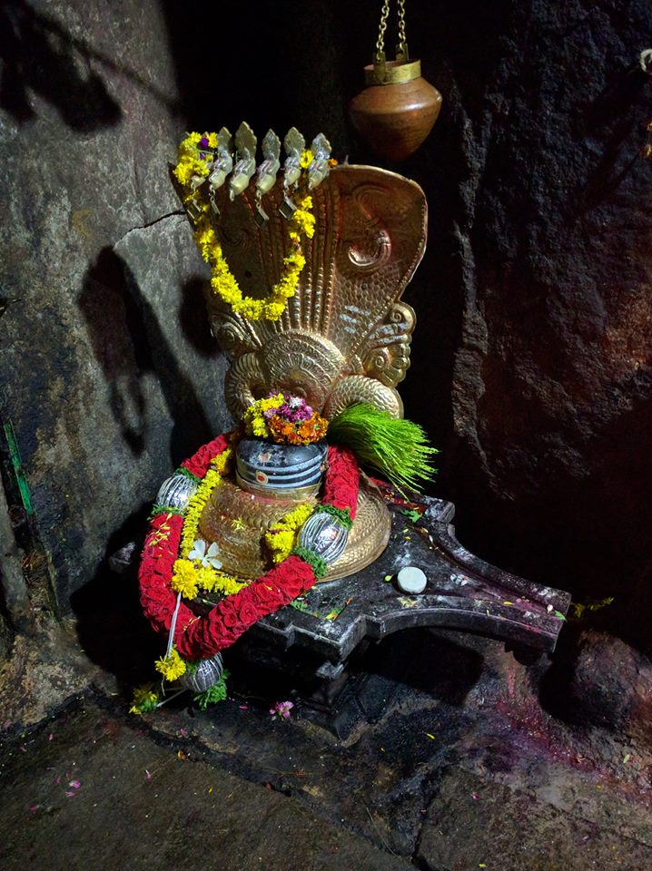 Shivaling at SiddaraBetta, cave temple
