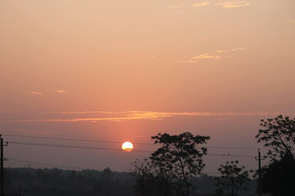 Sunrise as seen enroute to Madhugiri