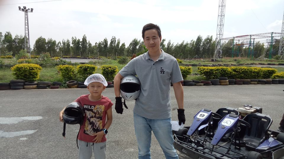 Visitors after their go-karting